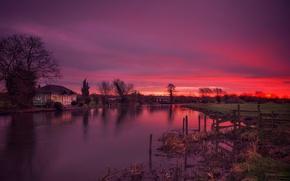Картинка дом, река, Англия, зарево, Ноттингемшир