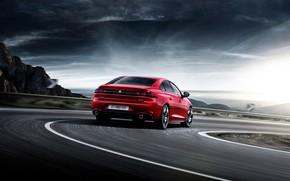 Обои дорога, авто, красный, Peugeot, автомобиль