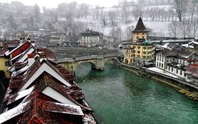Обои зима, мост, город, река, Швейцария, крыши, канал, Берн, Bern