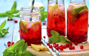 Картинка ягоды, лимон, сок, juice, lemon, напиток, мята, смородина, лимонад, drink, berries, mint, currants, lemonade