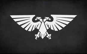 Картинка white, black, eagle, fon, desktop wallpapers, Imperium of Mankind, Warhammer 40 000, banner