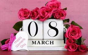 Картинка цветы, праздник, розы, 8 марта, числа, дата, женский день