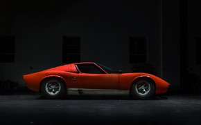Картинка Цвет, Авто, Lamborghini, Машина, Оранжевый, 1971, Автомобиль, Тачка, Supercar, Старый, Вид сбоку, P400, Jeremy Cliff, …