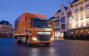 Картинка 4х2, Euro6, бортовая платформа, оранжевый, вечер, площадь, ДАФ, город, DAF CF 370 FA, фургон, DAF, ...