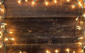 Картинка украшения, огни, Новый Год, Рождество, гирлянда, happy, Christmas, wood, New Year, Merry Christmas, Xmas, decoration, ...