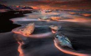 Картинка пляж, небо, берег, лёд, Исландия