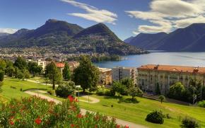 Обои озеро Лугано, пейзаж, Lugano, озеро, Лугано, Lake Lugano, деревья, панорама, дома, Тичино, Ticino, Alps, здания, ...