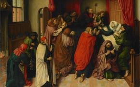Картинка дерево, масло, картина, мифология, Meester van de Amsterdamse, Dood van Maria, Мария на Смертном Ложе