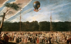 Картинка Неоклассицизм, Антонио Карнисеро, в парке Аранхуэс, 1784, Полёт шара Монгольфье