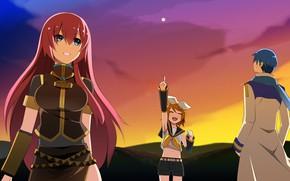 Картинка закат, девушки, парень, Vocaloid, Вокалоид, Кайто, Кагомине Рин