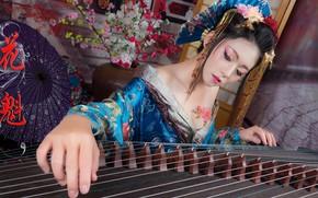 Картинка девушка, музыка, арфа