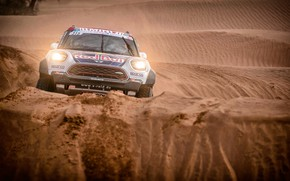 Картинка Песок, Mini, Спорт, Пустыня, Машина, Гонка, Фары, Rally, Внедорожник, Ралли, Дюна, X-Raid Team, 315, MINI ...