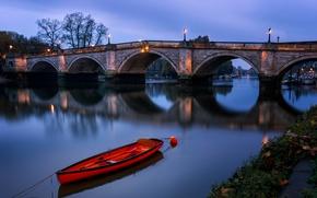 Картинка ночь, лодка, Англия, Лондон, арка, Ричмондский мост