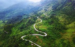 Картинка дорога, зелень, лес, облака, деревья, горы, туман, Вьетнам, вид сверху, Bac Can