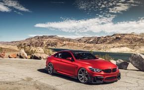 Обои BMW M4, пейзаж, авто, дизайн, красный