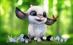 Обои лето, настроение, бабочка, ромашка, арт, цветочки, полянка, малышка, овечка, детская, Alina Makarenko, Cartoon sheep