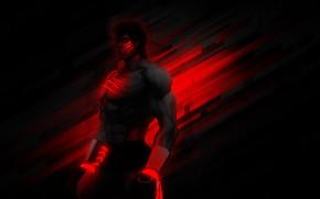 Картинка боец, качок, боксёр, Street Fighter 4, BossLogic, Fei Long's, чёрно красный, feitron