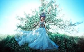 Картинка девушка, стиль, дерево, платье, кокошник, Мария Липина, Катя Чернышева