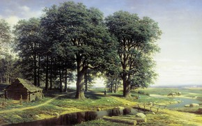 Обои картина, дом, Михаил Клодт, деревья, Дубовая Роща, река, пейзаж