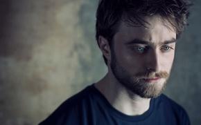 Обои фотосессия, Daniel Radcliffe, Дэниэл Рэдклифф, боке, актер, Sarah Dunn, футболка, борода, портрет