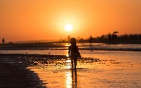 Картинка море, закат, девочка