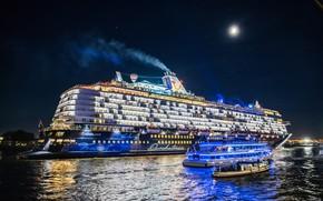 Картинка ночь, река, Германия, лайнер, Гамбург, Germany, круиз, Hamburg, теплоходы, Elbe River, Река Эльба
