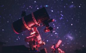 Обои звезды, небо, фон, телескоп, вечер, макро