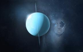 Картинка девушка, космос, уран
