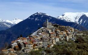 Картинка Франция, пейзаж, снег, горы, Moyenne-Tinеe