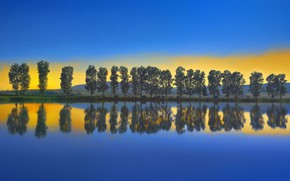 Картинка облака, деревья, озеро, зарево