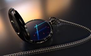 Обои часы карманные, киберпанк, future, light, material, blender, hologram, clock, sci fi, render, голограмма, reflection, рендер, ...