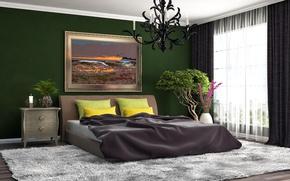 Картинка цветы, ковер, кровать, подушки, окно, шкаф, Design, Bed, Interior, Bedroom, Chandelier