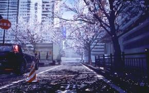 Картинка авто, город, весна, сакура