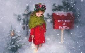 Обои зима, снег, Рождество, девочка, фонарь, ёлочка, почтовый ящик
