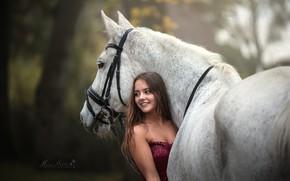 Картинка девушка, конь, лошадь