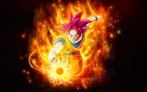 Обои Dragon Ball, злость, парень, огонь, пламя
