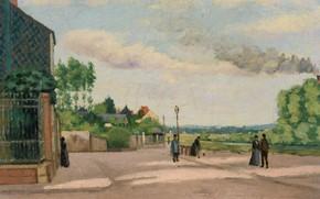 Обои Edmond Joseph Beliard, Берега Уазы, пейзаж, картина