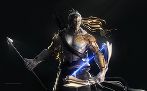 Картинка game, tatoo, dragon, samurai, bow, japanese, arrow, oriental, asiatic, strong, Hanzo, Overwatch