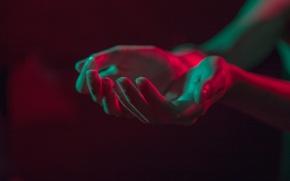 Картинка свет, темно, руки, ладони, отсвет, вытянутые руки, пригоршня