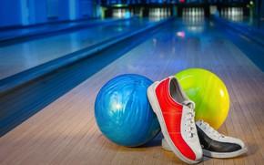 Картинка bowling, кеды, шар, тень, боулинг, дорожка, balls