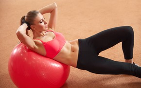 Обои fitness, ball, female