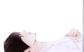 Картинка аниме, белый фон, парень