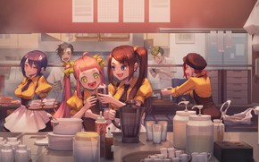 Картинка девушки, комната, аниме, друзья