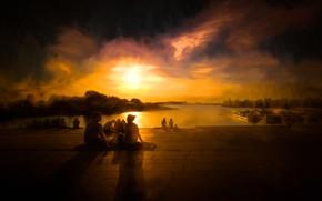 Обои грусть, тучи, люди, отдых, вечер, пикник, гавань