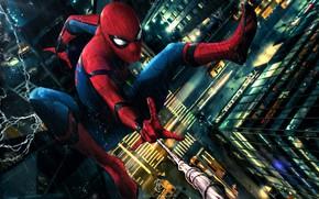 Обои art, rain, peter parker, car, spider man, new york city, spider man: homecoming