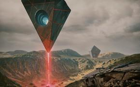 Обои луч, горы, летающие объекты, A . R . R . I . V . E ...