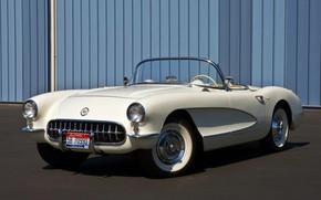 Картинка Corvette, Chevrolet, white, convertible, 1957, retro car