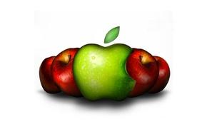 Обои коллаж, эмблема, яблоки, apple, логотип