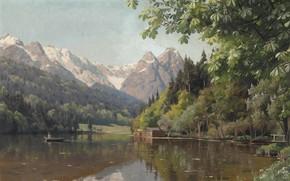 Обои 1913, Петер Мёрк Мёнстед, Peder Mørk Mønsted, Rowing on a lake, датский живописец, Гребля на ...