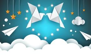 Обои облака, звезды, рендеринг, птицы